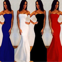 Wholesale Women Evening Gown Maxi Dress - 2017 New Sexy Women Strapless Wrapped Long Maxi Dress Formal Wedding Evening Party Gown Bridesmade Prom Mermaid Trendy White Dresses