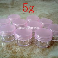 Wholesale pink plastic cosmetic jars wholesale - Wholesale- Free shipping ,100pc lot 5g pink color round small plastic bottle jars containers with lids for cosmetic packaging,cream jar
