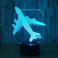 Wholesale Fly Figure - 3D Flying Airplane Illusion Lamp Night Light DC 5V USB Charging AA Battery Wholesale Dropshipping Free Shipping Retail Box