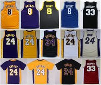 Hot Sale 8 Kobe Bryant Jersey 24 Homens Throwback High School Lower Merion 33 Kobe Bryant Camisas de basquete Uniformes Amarelo Branco Roxo Preto