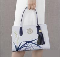 Wholesale Key Wristlet - Pmsix 2017 New Designer Women Handbags Split Leather Embroidery Tassel Purses And Handbags Light Blue Ladies Tote Bag P120053