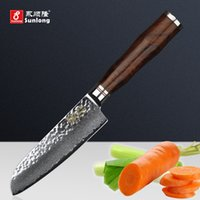Wholesale damascus steel chef knives - Sunlong 5 inch Santoku Knife Chef knives Damascus steel Slicing Knives 67layers Japanese Meat vegetable knife Cleaver