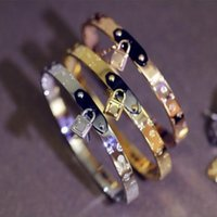 Wholesale Hot Bangle Designs Gold - Hot Selling Design Bangle Bracelets with 3colors Rose gold gold silver Stainless Steel Bracelets Wholesale