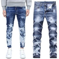 Men bleach names - Brand Name Jeans Men Hot Sale Printed Star Paint Splattered Bleach Slim Fit Denim Pants Distressed Hole Fashion Show Jean Trousers Male
