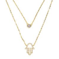 Wholesale pave diamond charms - 100% 925 sterling silver factory wholesale double layer women chain choker bezel cz diamond micro pave hamsa hand silver necklace