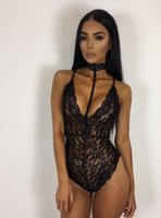 Wholesale Sheer Lace Jumpsuits - Women High Elestic Sexy Halter Bodysuit Semi Sheer Party Overalls Summer Female Nightgown Lace Rompers Slim Bandage Short Jumpsuit