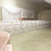 Wholesale Table Valance - Hot Sale Free Shipping 1 Piece Ice Silk Table Skirt With Swag Valance For Banquet Party Wedding Decor