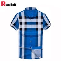 Wholesale Men Dress Shirts New Style - Wholesale- 2016 Summer New Style Mens Cotton Business Dress Shirt Men Short Sleeve Slim Fit Plaid Shirts Camisa Social Masculina 7 Colors