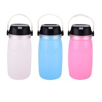 Wholesale Colored Led Night Lights - Portable Solar Silicone Lantern Bottle Light Rechargeable USB LED Night light Outdoor Waterproof camping Hiking Lamp ZJ0483