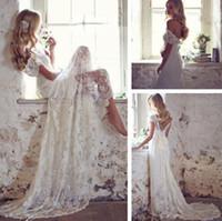 Wholesale shirts match skirts - Elegant Beach Wedding Dresses Beaded Cap Sleeve V-Neck Court Train Lace Bridal Gowns Matched Bow White Ivory Custom Made New