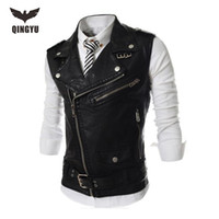 Wholesale Men S Leather Vests - Wholesale- 2016 New Brand Mens Leather Motorcycle Vest Harley Mens Leather Vest Red Waistcoat Steampunk Rock Slim Zipper Sleeveless Jacke