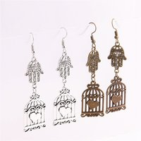 12pcs / lot металлический сплав цинковый Hamsa Hand Connector Bird Cage Pendant Charm Drop Earing Diy Jewelry Making C0745