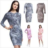 Wholesale Tie Dye Chiffon Long Dress - Dresses Striped Hooded Dress Women Winter Long Sleeve Dresses Autumn Pocket Dress Fashion Tie-dye Casual Dress Blusas Women's Clothing B3147