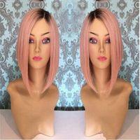 kanekalon perruque bob achat en gros de-New Ombre rose bob perruque 14 pouces 150% densité naturelle Hairline droite Kanekalon femmes dentelle synthétique perruque avant perruque courte
