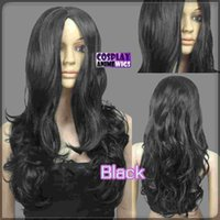 60cm Schwarz Hitze Styleable No Bang Curly wellig Cosplay Perücken 38_001
