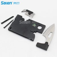 Wholesale Tools Swiss Army - Swiss Card Black Swiss Army Knife - New 10 in 1 Multi Purpose Pocket Credit Card Survival Knife Outdoor Hunting Camping Tool