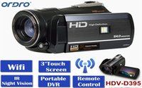 Wholesale Camcorder Led Light Video - Ordro Digital Video Camera HDV-D395 Infrared Night Vision Camcorder Wifi HD 1080P 30fps with Remote Control Dual LED Lights