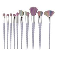 Wholesale Plastic Fans - Hot 10 PCS Unicorn Makeup Brushes The fan brush Makeup Tools free shipping B14