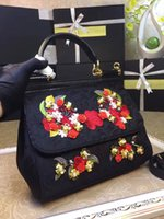 Wholesale Diana Handbag - New Handbag Shoulder Messenger Laptop leather leather flower embroidery Diana package freaky bag