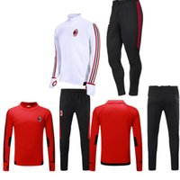 Wholesale Windproof Sweater - Top quality 2017 2018 AC Milan Soccer training suit sweatshirt kit survetement 17 18 AC Milan Sweater Tracksuit Set Soccer Training Suit