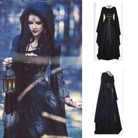 Wholesale Gothic Long Skirts Women - 2017 New Halloween long sleeve irregular maxi women's cosplay Theme Costumes plus size Round neck belt party dress big hem skirt