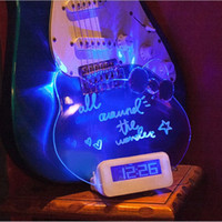 Clock Kitten Styling LED Light Digital Luminous Hand Written Message Board Despertadores Originalidade Decoração de mesa Presentes criativos 30lz A R
