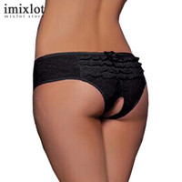 Wholesale open crotch sexy panties - Women Underwear Open Crotch Underpants Nice Transparent Briefs Wholesale Sexy Lace Lingerie Women's Panties Plus Size