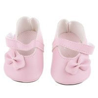 Wholesale American Girl Dolls Clothes - New Pink Pair Flat Shoes with Bow for 18 inch American Girl Our Generation Journey Dolls Clothes Dollhouse Decoration Accessory