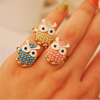 Wholesale punks rings online - Cute Owl Ring Women DHL New Korea Beautifully Delicate Pearl Ring Factory Direct Punk European Style Retro Colos Pearl