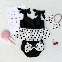 Wholesale Dot Bow Headband - Ins Girls Clothing Sets Black White Dots Top+Bow Shorts+Headband Three Piece Summer Fashion Suit Sets Kids Clothes E303