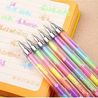 Wholesale Cute Highlighters - Wholesale- 1PC 6 Colors Cute Design Ink Highlighter Pen Marker Stationery Point Pen Colorful Stationery Writing Supply Girls Painting Pens
