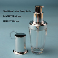 Wholesale Cosmetic Jar Packaging Glass - Wholesale- 20pcs lot Promotion 30ml Glass Bottle Lotion Emulsion Pump 1OZ Spray Container Small Empty 30g Cream Jar Cosmetic Packaging