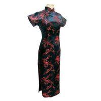 ingrosso kimono nero fiore-All'ingrosso-Tang Visualizza nero rosso cinese tradizionale abito da donna in raso di seta Qipao lungo Cheongsam Flower Plus size 4XL 5XL 6XL YQ2089