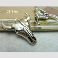 Wholesale Cattle Bull - Wholesale- Bull Head Charm Bull Pendant Tibetan Silver 28*31mm Cow Cattle Ox Bull Taurus Necklace Bracelet Men Jewelry Supply - 30 pcs