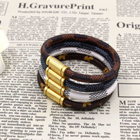 Wholesale leather magnet clasp bracelet - High quality titanium steel magnet buckled leather bracelet, fashionable calf leather accessories wholesale