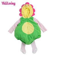 Wholesale Thick Baby Costumes - Baby 3 Pieces Winter Clothing Sets For Toddler Unisex Thick Cartoon Animal Unflower Girl Boys For Children 's Day Party Costume Kid Clothes