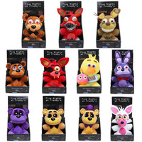 Wholesale Coffee Stuff - 11styles Game 25cm Boxed FNAF Nightmare Freddy Fazbear Fever Plush Toys Five Nights At Freddy's Chica Bonnie Foxy Soft Stuffed Animal Dolls