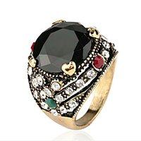 Wholesale Black Agate Round Cabochon - Persia Gypsy Bohemia ring Resin Imitation Faceted big round Cabochon black Gem agate ring edge Studded with full rhinestone rings Women j368