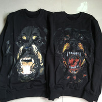 Wholesale Yellow Dog Winter - Wholesale- Luxury Hoodies Rottweiler Dog Print Sweatshirts Famous Cotton O-Neck Hooded Autumn Winter Casual Skateboards Sweat