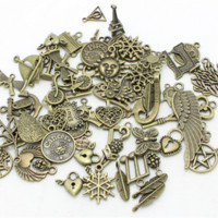 30-50pattern Mixed 50pcs <b>Assorted Carved Charms</b> Pendants Beads Metal Alloy Pandent Banhado Antique Bronze Diy Bead D1082