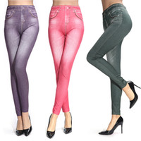 Wholesale Work Jeans Wholesale - Wholesale- 2017 Brand New Push Up Jeans Leggings Pink Ankle-Length Leggings Jeans Knitted Thin Women Legging 6 Colors Work Out Leggins