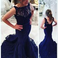 Wholesale Nude Embellished Gown - Romantic Navy Blue Lace Evening Prom Dresses 2016 Mermaid Sheer Neck Jewel Embellished Ruffled Sweep Train Formal Party Celebrity Gowns