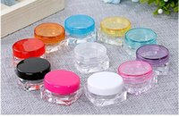 Wholesale Cosmetic Beauty Containers Wholesale - DHL Shipping Beauty Plastic Refillable Bottles Cream Jar Cosmetic Container Empty Eyeshadow Makeup Face Cream Lip Balm Pot 3g