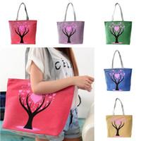 Wholesale Cute Shoulder Bags For Sale - Wholesale- 2017 Hot Sale Love Tree Canvas Handbag Preppy School Bag for Girls Women's Handbags Cute Bags