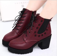 Wholesale Flat Laps - 2017 autumn and winter new boots flat bottom increased rivet locomotive high-heeled pull lap nail shoes thick with waterproof