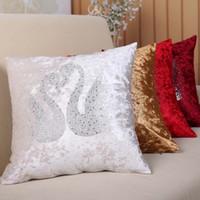 tirar tela de almohada al por mayor-Estilo europeo Cisne Patrones Decorativos Terciopelo Tela Throw Pillow Inicio Cama Sofá Respaldo Cojín Ventas directas de la fábrica