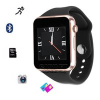 Wholesale Sim Supported Watch - A1 Smartwatch Bluetooth Smartwatch Apple iWatch Support SIM TF Card Smart Wrist Watches Silicone Strap Smartphone with Retail Package