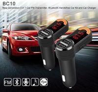 Wholesale Handsfree Display - Universal Bluetooth Car Kit MP3 Player FM Transmitter Dual USB Charger LED Display Handsfree kit Black BC10