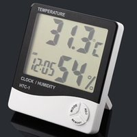 Wholesale Electronic Temperature Clock HTC LCD Indoor Humidity Meter Daily Alarm And Calendar Display with Retail Package DHL OTH357