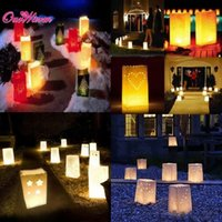 Wholesale Party Light Candle Holders - 20pcs lot Paper Candle Bags for Wedding Decoration Light Holder Luminaria Paper Candle Bag for BBQ Christmas Party Supplies